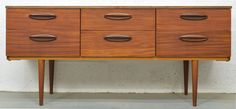 Teak Mid Century Chest of Drawers with Afrormosia Lip Handles 1960s