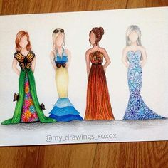 Beautiful season dresses by @my_drawings_xoxo !! . Make sure to Follow @mr.honeycinnamon !! . Follow also @artworksof.insta