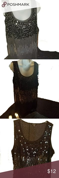 George Black Sequin Tank Top 22W 24W Very nice black sequin top for when you want a little bling.  This looks great dressed up or, my favorite way, paired down with nice jeans and black boots or heels.  So fun to wear.  From pet free and smoke free home. George Tops Tank Tops