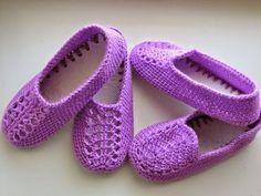 Resultado de imagen para pantuflas de cama con  dos agujas