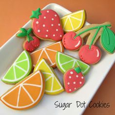 Sugar Dot Cookies: Summer Fruit Sugar Cookies with Royal Icing