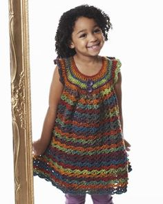 Fun crocheted girl's tunic that shows off the beautiful color changes of Bernat Mosaic!  free