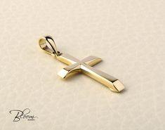 Solid Gold Cross Necklace 14K Gold Cross Pendant by BloomDiamonds