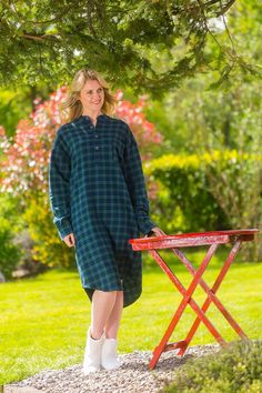 cb07b50499 Nightshirt Lee Valley Flannel Ladies - LV6 Green Tartan- Blackwatch - Lee  Valley Ireland -
