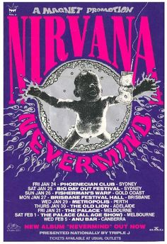Image result for nirvana poster melbourne tour purple blue