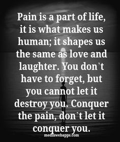 Pain is part of life, it is what makes us human; it shapes us the same as love and laughter. You don't have to forget, but you cannot let it destroy you. [Slowly] Conquer the pain, don't let it conquer you. Allow all the waves of emotions and pain to wash over you, only after accepting and feeling it all will you find peace.