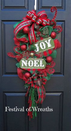 Christmas Wreath  Swag  Christmas Front Door by FestivalofWreaths