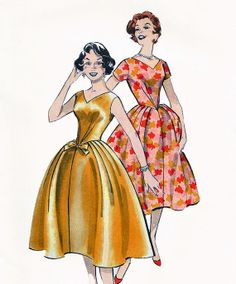 Vintage 1950s Special Occasion Party or Evening Bouffant Basque Waist Dress Pattern by TheOldLeaf, $27.95 #MadMen #50sFashion #VintagePatterns
