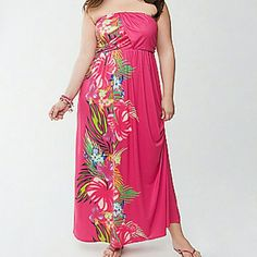 26/28W Lane Bryant Floral Print Maxi Dress Floral print maxi dress with a tropical feel from Lane Bryant. Size 26/28 or equivalent size 4X. Draped bust. Empire waist. New without tags. Lane Bryant Dresses Maxi