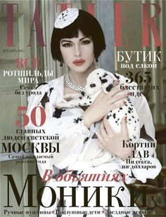 Monica Bellucci as Cruella Deville with the 101 Dalmatians by Francesco Escalar for Tatler Russia