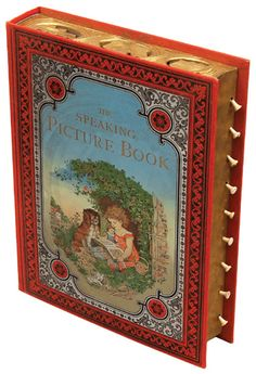The Speaking Picture Book: A Special Book with Picture, Rhyme and Sound for Little People. New York: F.A.O. Schwartz, n.d.  [c.1893-95]. Sixteenth edition. Folio (298 x 225 mm). Book-form box, enclosing nine printed leaves. Eight chromolithographed plates. Original red cloth. Upper board elaborately color decorated. Gilt title to spine. Nine pull-cords to fore-edge. All edges gilt. In original storage box. Made in Germany.