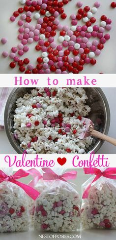 How to make Valentine Confetti Valentine Confetti Popcorn. An easy recipe for Valentine's Day treats, Snow days or any other day. This Valentine Confetti recipe is so easy to make. Valentines Day Food, Kinder Valentines, Valentine Treats, Holiday Treats, Holiday Recipes, Valentine Party, Valentines Goodie Bags, Printable Valentine, Homemade Valentines
