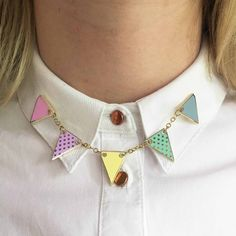 Bunting Enamel Pin- Pastels Collar Clips, Collar And Cuff, Collar Pin, Rainbow Bunting, Cute Jewelry, Unique Jewelry, Backpack Pattern, Pin And Patches, Hard Enamel Pin