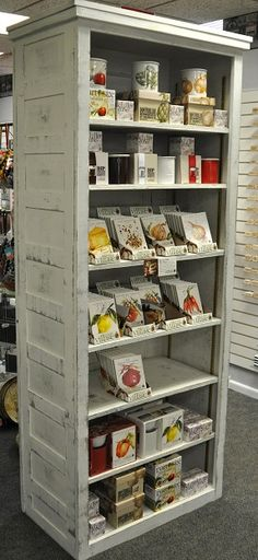 Display case made for us from old doors. See it at Mélange in Ste. Genevieve, Missouri.