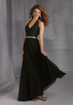 Chiffon Bridesmaid Dress with deep V Neckline and Open Back Designed by Madeline Gardner. Includes Removable Beaded Tie Sash. Zipper Back. Shown in Black.