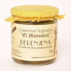 Berenjena en aceite de oliva y asada con leña. 370g 3,40€, Conservas vegetales El Manantial