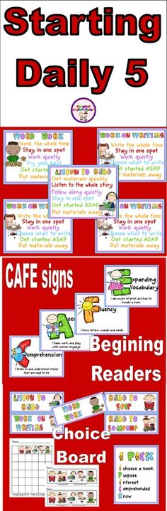 Daily 5 Updates Last summer, when I was getting ready to implement DAILY FIVE and CAFE in my classroom, there weren't too many freebies and resources online. Now I'm like a KID IN A CANDY STORE every time I search for Daily Five/Cafe stuff online because Daily 5 Reading, Teaching Reading, Guided Reading, Teaching Ideas, Teaching Materials, Preschool Ideas, Teacher Resources, School Classroom, School Fun