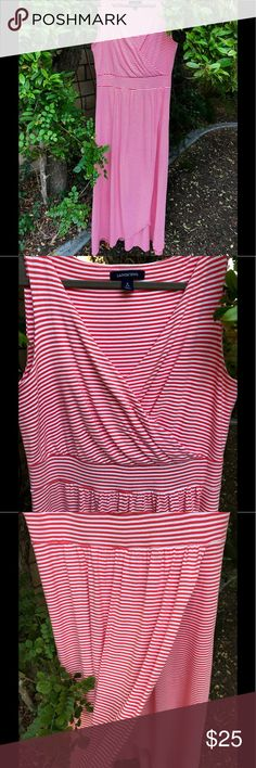 S O L D ! Land's End 🌷dress Sz S tulip hem empire waist  Wore this in 100 degree heat recently and was totally cool and comfortable. This is the GO TO casual summer dress! The tulip hem, empire waist is so flattering and *key word* COMFORTABLE. Could be termed a faux wrap too. As far as I could tell, Lands End doesn't make this style anymore. They make one w/ a regular/lower waist, but I like the empire as it camouflages tummy. Lands' End Dresses Maxi