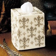 Leisure Arts - Fleur-De-Lis Tissue Box Cover Plastic Canvas Pattern ePattern, $2.99 (http://www.leisurearts.com/products/fleur-de-lis-tissue-box-cover-plastic-canvas-pattern-digital-download.html)