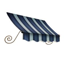 Awntech 100.5-In Wide X 12-In Projection Navy/Gray/White Stripe Open S