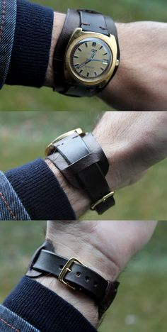 Hand made leather bund watch strap from Bear All Leather Works.