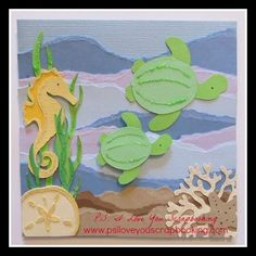 This Under the Sea Card features a seahorse, coral, sea weed, sand dollar, and star fish from the Life is a Beach Cricut Cartridge. The sea turtles are on the Stretch Your Imagination Cartridge. This great card has a creative torn background to make it Diy Craft Projects, Crafts For Kids, Create A Critter, Beach Cards, Cricut Cartridges, Stampin Up, Cricut Cards, Cricut Vinyl, Scrapbook Cards