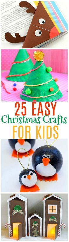 Here are 25 easy Christmas crafts for kids. Some of these kid Christmas crafts make great gifts, or just fun Christmas activities to do together as a family. #ChristmasCrafts
