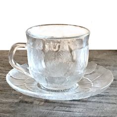Set of 12 Clear Glass Cup and Saucers Vintage Teacups by Acropal France #Acropal #Glass #CupandSaucers #Vintage #Kitchenware #Dishes #Setof12 #GlassCups #Etsy