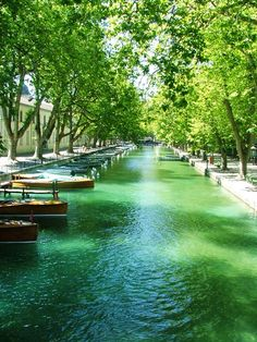 Waterways feature boat parking in Annecy, #France.