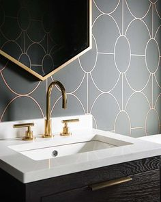 Melissa Lenox Design gives us a lesson in geometry with this sensational powder room. Blizzard was born for this space! Melissa Lenox Design gives us a lesson in geometry with this sensational powder room. Blizzard was born for this space! Scandinavian Interior Design, Home Interior, Bathroom Interior, Decor Interior Design, Interior Decorating, Bathroom Shop, Inspiration Drawing, Bathroom Inspiration, Design Inspiration