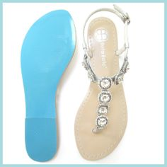 Something BLUE SOLE Halo Crystal Strappy Silver Bridal Thong Sandals Shoes Beach Wedding on Etsy, $129.00