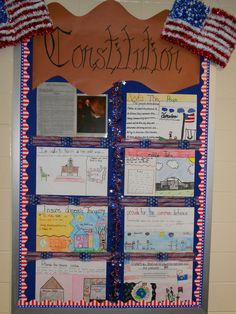 5th grade- Constitution Preamble Quilt.  We put each group in charge of one section of the preamble.  They had to write it as is, rewrite it in their own words, then illustrate it's meaning.