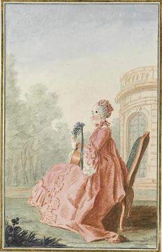 Mme la vicomtesse de Rochechouart, c. 1760's by Louis Caroggis Carmontelle (1717-1806)