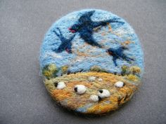 Hand Made Needle Felted Brooch - ' When Swallows Fly ' by Tracey Dunn   eBay