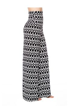 High Waisted Black/White Geo Prints Palazzo Pants