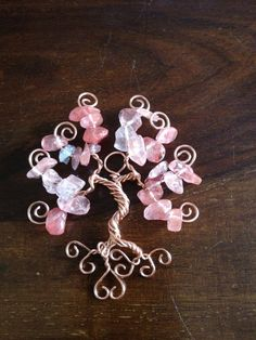 Floating Tree of Life Pendant Rose Quartz by TwistedWiresTorquay