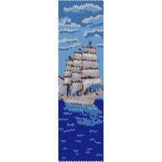Ship Peyote Bead Pattern, Bracelet Cuff, Bookmark, Seed Beading Pattern Miyuki Delica Size 11 Beads - PDF Instant Download by SmartArtsSupply on Etsy