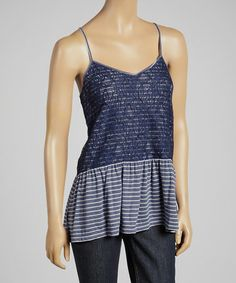 Look what I found on #zulily! Navy Scandal Stripe Lace Sleeveless Top by kersh #zulilyfinds