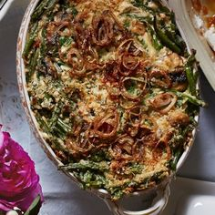 Fried shallots add some crisp. Recipe: Green Bean Casserole with Fried Shallots