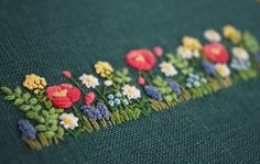 Flower border, embroidery
