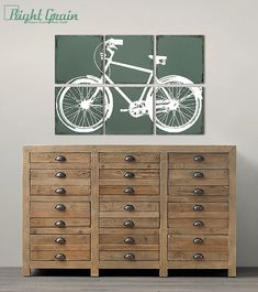 Distressed Retro Bike Painting - Large Bicycle Wall Art Custom Made Just for You