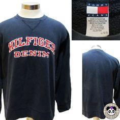 Vtg 90s Tommy Hilfiger Denim Spell Out Sewn Logo Sweatshirt Sweater Sz L  #TommyHilfiger #90s #tommyjeans #hilfigerdenim #hiphop #streetwear #streetstyle #tommy