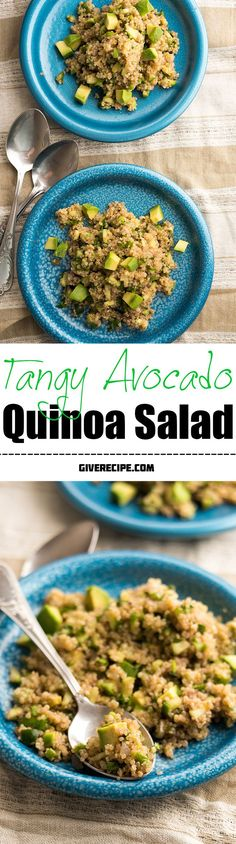 Tangy Avocado Quinoa Salad - Very healthy with avocado and quinoa. Wonderfully refreshing thanks to cucumber and lemon. Perfect side or snack for summer! | giverecipe.com