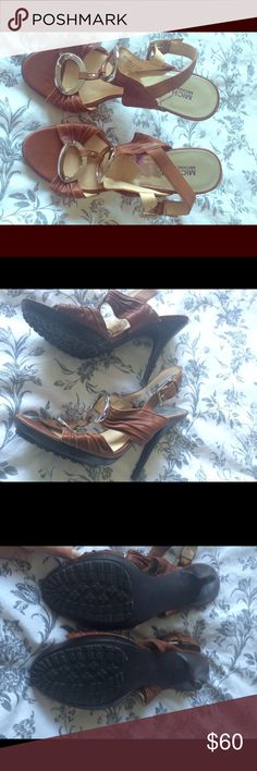 Tan Michael Michael Kors, leather and silver. 4 inch leather and silver heels. Worn only 1 time. No wear marks. MICHAEL Michael Kors Shoes Heels