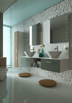 Love the white stone wall! Modern bathroom interior, created using CGI Brown Bathroom Decor, Turquoise Bathroom, Beige Bathroom, Grey Bathrooms, Bathroom Wall Decor, Simple Bathroom, Bath Decor, Beautiful Bathrooms, Bathroom Furniture