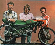 Jaap Voskamp, Jörg Möller and Jan de Vries with the 50cc van Veen Kreidler