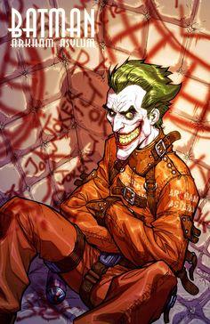 Batman: Arkham Asylum - The Joker by Carlos D'Anda * Joker Comic, Joker Batman, Joker Art, Joker Pics, Batman Robin, Batman Arkham Asylum, Joker Arkham, Arkham City, Bob Kane