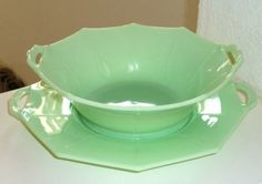 Image detail for -... Sided Centerpiece Bowl & Underplate Jadeite Jade ite Skokie Completed