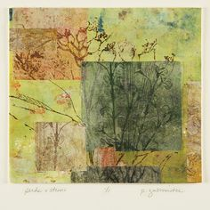 "Print Making-Mixed Media-Paula Zinsmeister: Seeds and Stems; intaglio, paper lithography, collage 17""H x 19""W"