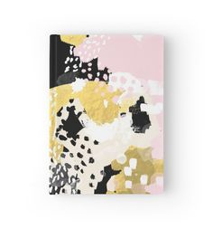Simone - abstract painting gold foil trendy hipster pastel pink modern trendy colors decor college von charlottewinter